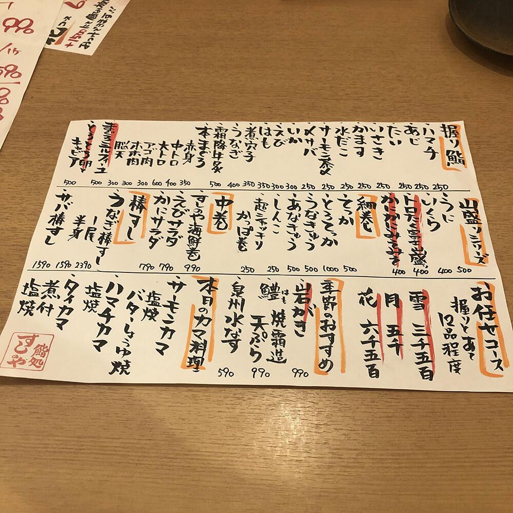 お寿司メニュー
