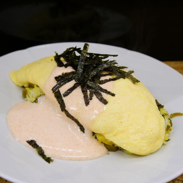 高菜ご飯の明太マヨソース